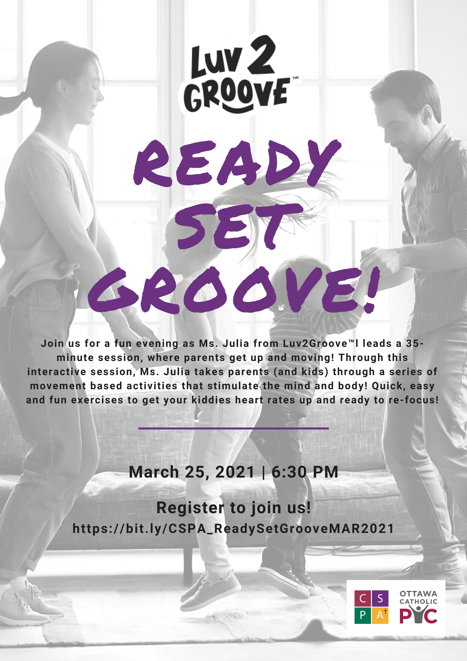 Ready, Set, GROOVE! March 25th @6:30pm